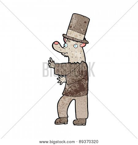 cartoon werewolf in top hat