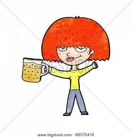 cartoon woman with mug of beer