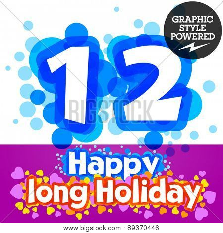 Vector set of happy festive motley alphabet. Numbers 1 2