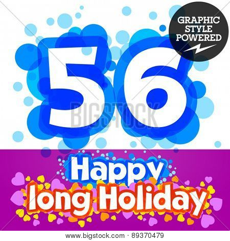 Vector set of happy festive motley alphabet. Numbers 5 6