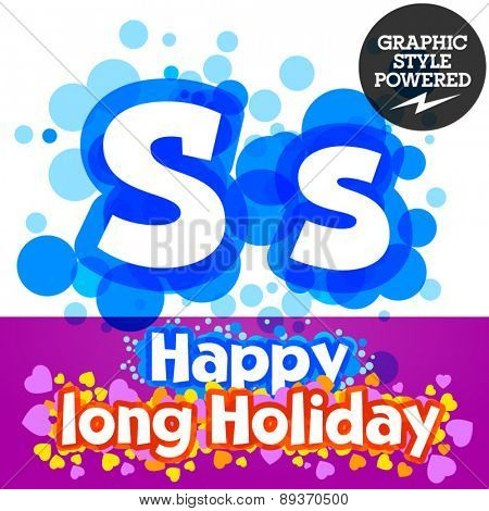 Vector set of happy festive motley alphabet. Letter S