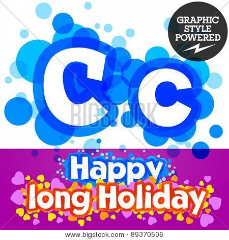 Vector set of happy festive motley alphabet. Letter C