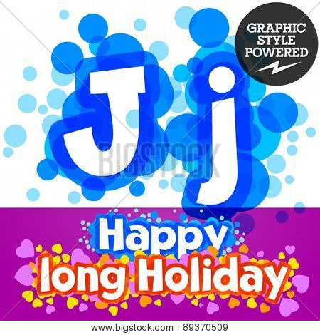 Vector set of happy festive motley alphabet. Letter J