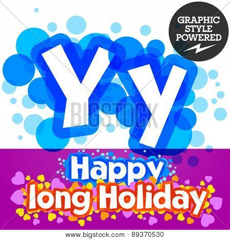 Vector set of happy festive motley alphabet. Letter Y