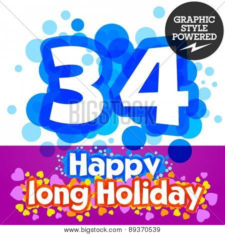 Vector set of happy festive motley alphabet. Numbers 3 4