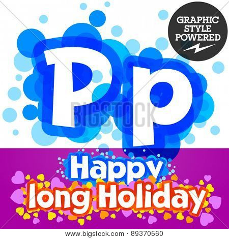 Vector set of happy festive motley alphabet. Letter P