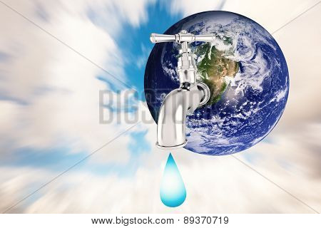 Earth with faucet against blue sky with white clouds