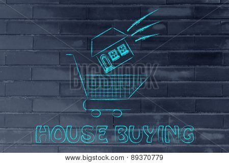 Real Estate Market,  House Dropped Into Shopping Cart