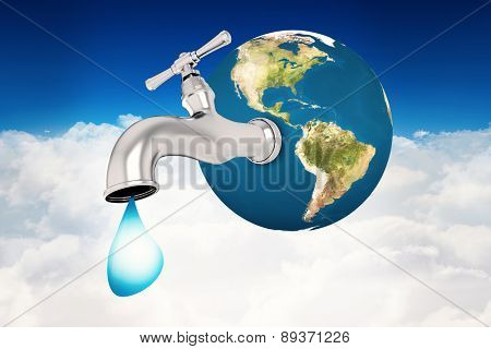 Earth with faucet against bright blue sky over clouds
