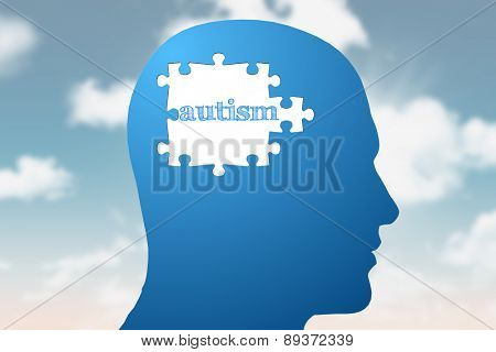autism against blue jigsaw head with missing pieces