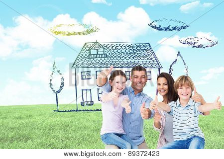 Happy family gesturing thumbs up against blue sky over green field