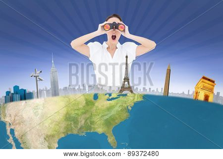 Shocked elegant businesswoman looking through binoculars against cool linear pattern in blue