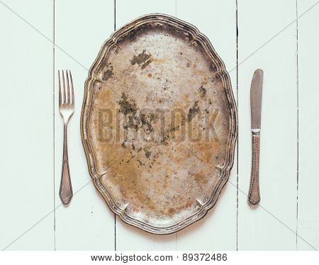 silver tray and cutlery