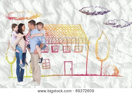 Side view of parents giving piggyback ride to children against crumpled white page