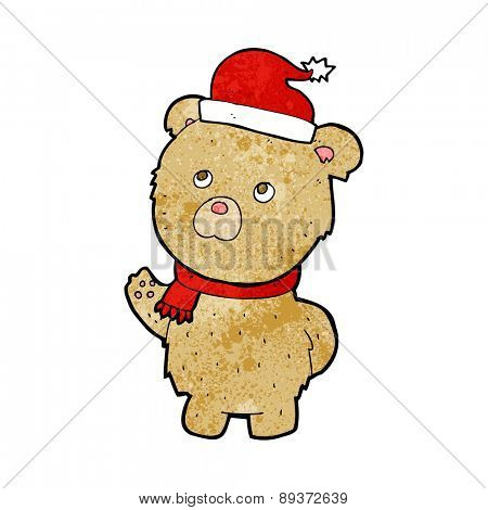 cartoon teddy bear wearing christmas hat