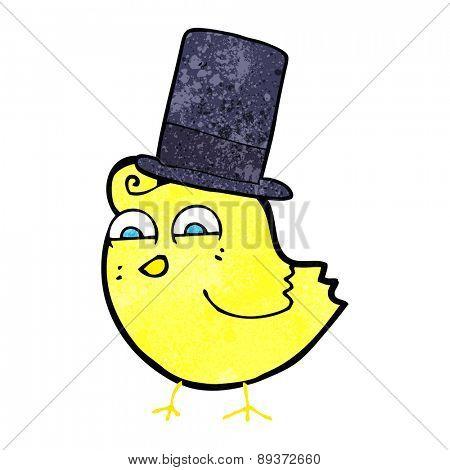 cartoon bird wearing top hat
