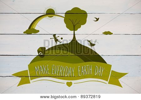 Earth Day Graphic against painted blue wooden planks