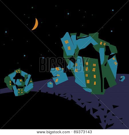Vector Illustration Of Crazy Space Town