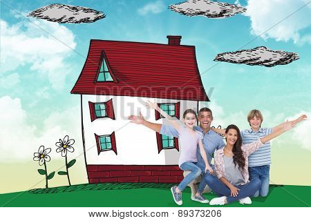 Happy family with arms outstretched over white background against blue sky