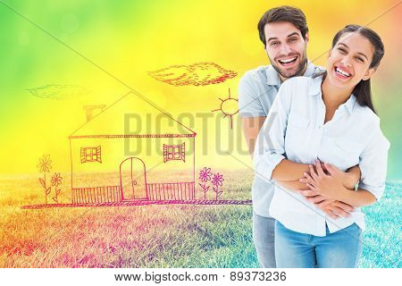 Cute couple hugging and smiling at camera against field against glowing lights