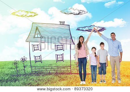 Happy parents joining hands above children against blue sky over green field