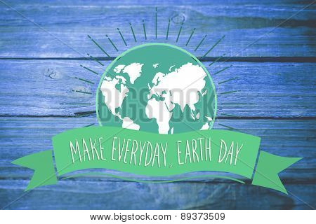 Earth Day Graphic against wooden background
