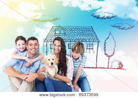 Happy family with cute dog over white background against blue sky
