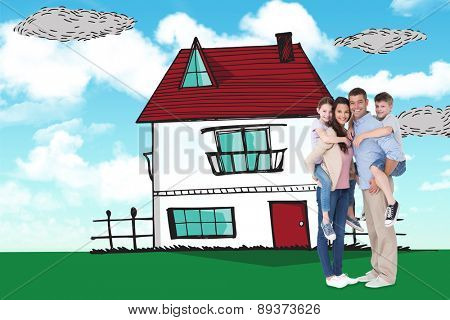 Parents giving piggyback ride to children over white background against blue sky