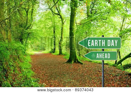 earth day ahead against peaceful autumn scene in forest
