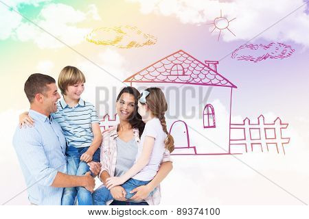 Mother and father carrying children over white background against blue sky