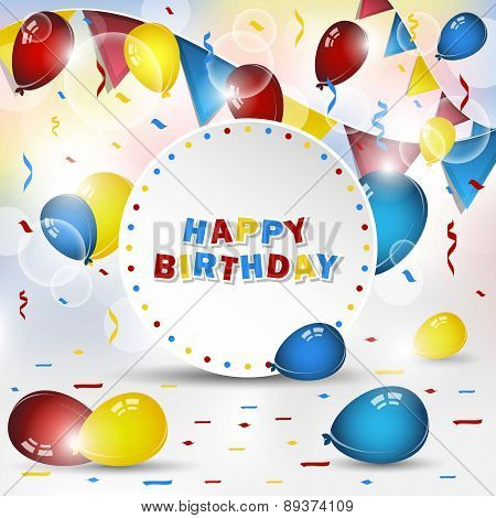 Happy birthday vector background with confetti and balloons
