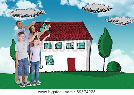 Family of four pointing at copy space against blue sky