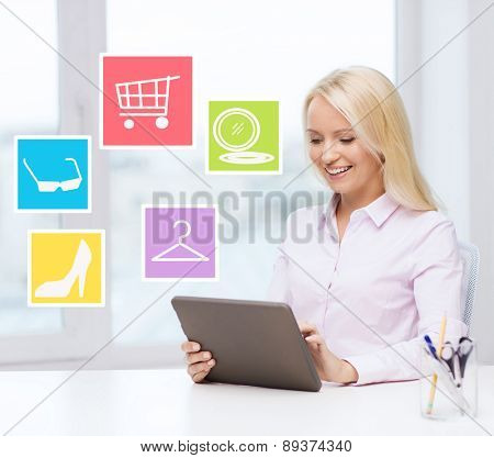 business, people and technology concept - smiling businesswoman or student with tablet pc computer shopping online in office