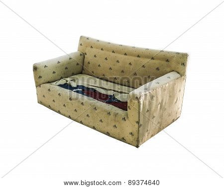 Isolated Broken Sofa Perspective View
