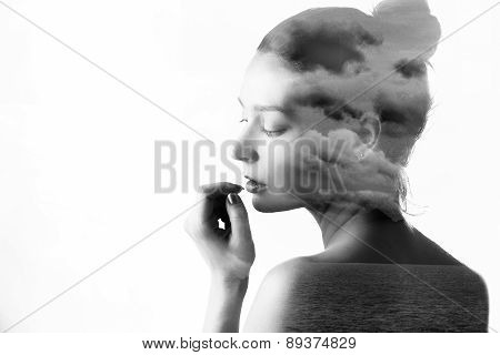 Double exposure of beautiful girl and nature landscape