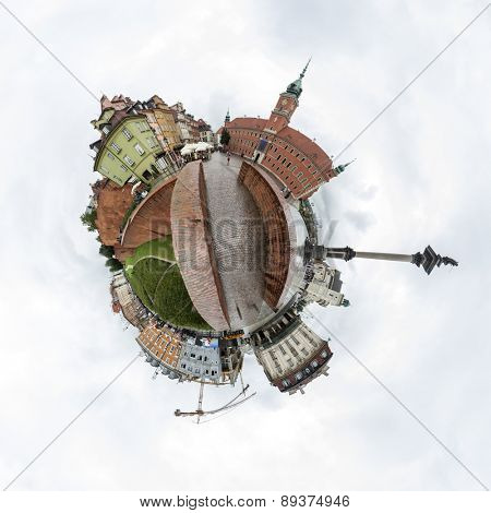 Tiny planet of the Castle Square in Old Town of Warsaw, Poland