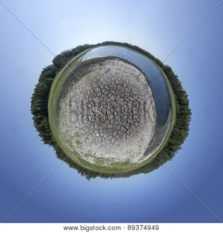 Dried Out Lake bed as Tiny Planet