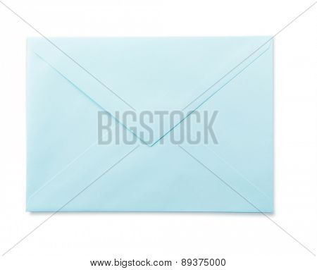 Light blue envelope isolated on white.