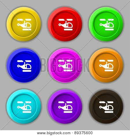 Helicopter Icon Sign. Symbol On Nine Round Colourful Buttons. Vector
