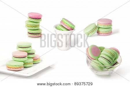 macarons isolated on white collage
