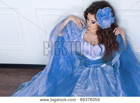 Fashion Beauty Girl Model Posing In Fashionable Dress Posing In Interior Apartment