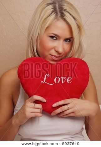 woman with heart love message