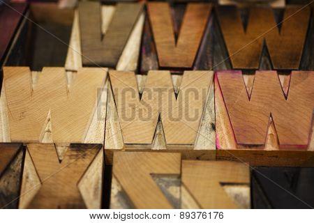 Wood type letters WWW