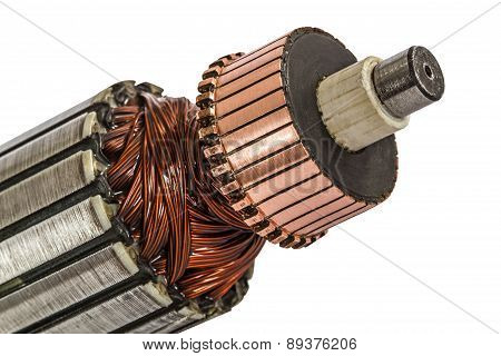 Rotor Of Electric Motor Close-up, Isolated On White Background