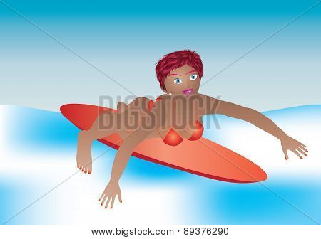 Girl Paddling Surfboard