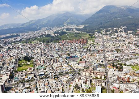 Aerial view of north central Quito sector; Rumipamba Park Av. America, Av. Republica and Maniosca street.
