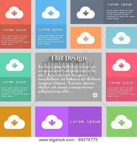 Download From Cloud Icon Sign. Set Of Multicolored Buttons. Metro Style With Space For Text. The Lon