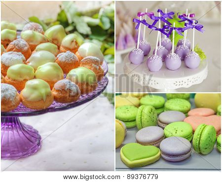 sweet buffet set collage