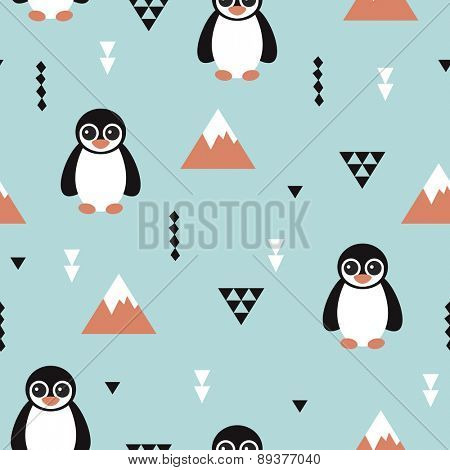 Seamless kids penguin and geometric mountain arctic winter wonderland illustration pattern in ice blue background in vector