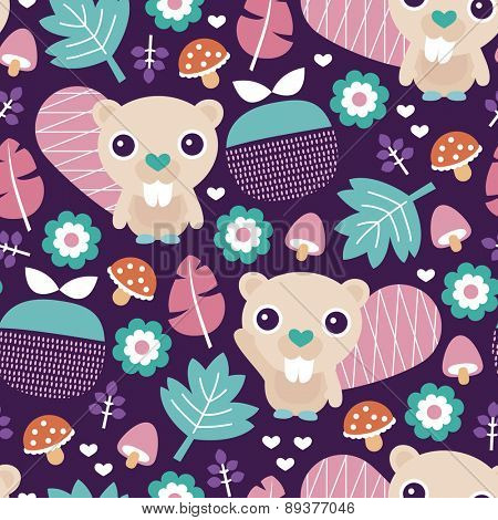 Seamless adorable beaver fruit and blossom woodland illustration kids colorful background pattern in vector